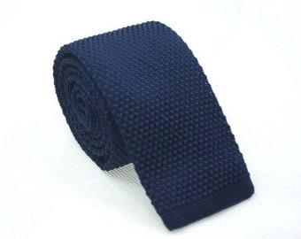 Navy Knitted Ties.Mens Necktie.Groomsmen Necktie.Skinny Knitted Ties.Casual Knitted Neckties.