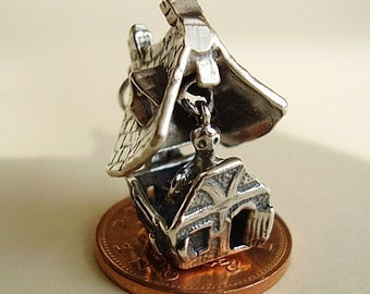 Sterling Silver Opening Halloween Haunted House Charm With Moving Ghost