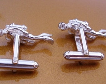 One Pair Sterling Silver Scuba Diver Cufflinks With Presentation Box