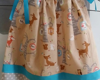 Toddler Girls Pillowcase Dress; Woodland