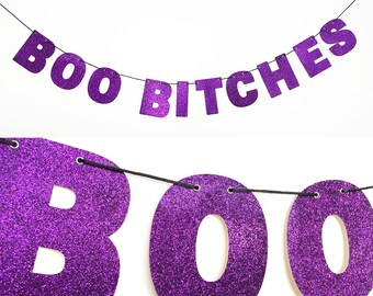 BOO BITCHES Glitter Banner Wall Hanging - Sparkly Purple - Halloween Party Decoration
