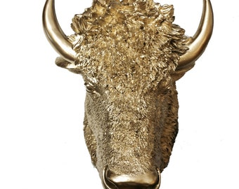 Gold Bison Head Mount Wall Statue. Faux Taxidermy Fake American Bison Head. Fake Buffalo Head.