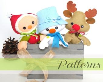 Christmas Ornaments patterns-Set of Three-DIY projects-Snowman ornament-Reindeer ornament-Elf ornament-Stocking stuffers-PDF File