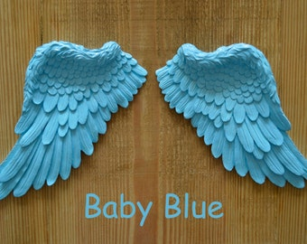 Vintage Antique Style Shabby Chic Baby Blue Angel Wings Wall Art Decoration