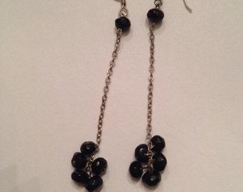 Vintage Sterling Silver Black Stone Dangle Chain Earrings Jewelry