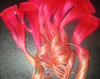 Human Hair Clip In Colourful Flashes Hair Extensions - Ombre & Dip Dye Pink Also Here 18""