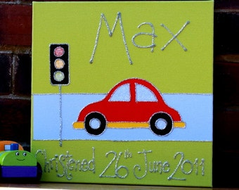 Personalised Bubble Car Canvas Picture / Personalised Car Canvas Art / Personalised Nursery Art