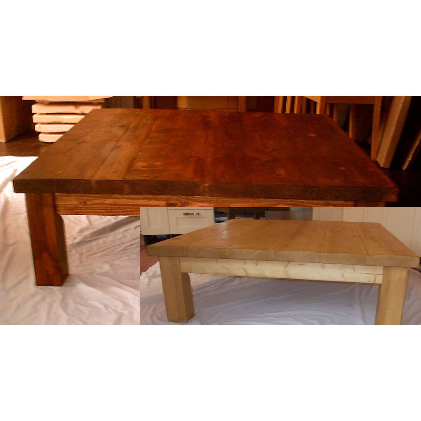 Extra Large Rustic Chunky Square Coffee Table 002