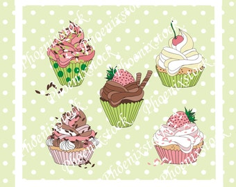 Birthday clip art/ cup cake clip art/birthday cup cakes/cup cake/ happy birthday