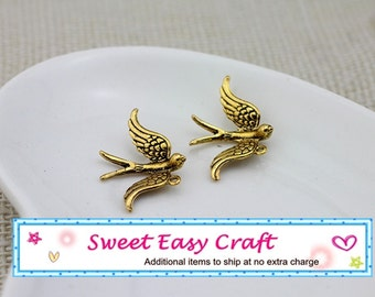 4pc Antique Gold 3D Swallow Sparrow Bird Charm Pendant jewelry supplies finding  Vintage Style