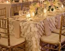 Petal Tablecloth Ivory White Blush Pink - Ready to ship - romantic wedding decor