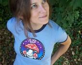 Womens Mushroom Ringer T-shirt