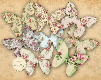 Digital Collage Sheet - Greeting Cards - Digital Backgrounds,Printable Collage,Paper Craft,Tranfer image -SHABBY CHIC BUTTERFLIES