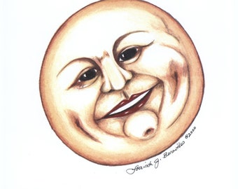 Man on the Moon, illustration, art, drawing, colored pencils, smiling moon, photo realistic, print, dimples, yellow moon, archival