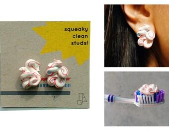 Squeaky Clean Studs - Toothpaste Sculpture Earrings