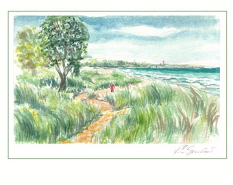 Lost in the Grasses - Fine Art Giclee Print of Original Watercolor Painting