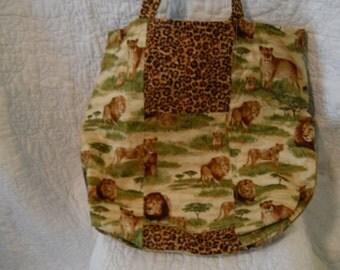 Reversible Jungle Lions Tote Bag