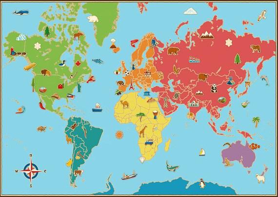 apprendre en avançant monde carte affiche sticker pour enfants