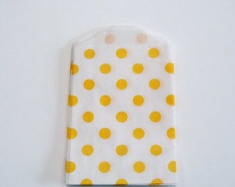 "2.75"" x 4"" Very Small yellow  Dots on White Kraft paper Bags (20)"