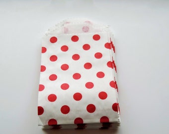 "2.75"" x 4"" Very Small Paper Bags Red  Dots on White Kraft  (20)"
