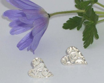 Pure Silver Textured Heart Shaped earrings