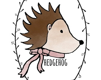 Happy Hedgehog Printable Illustration