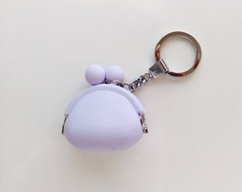 Silicone Mini Coin Purse Bag Small Keychain Key Ring Lavender