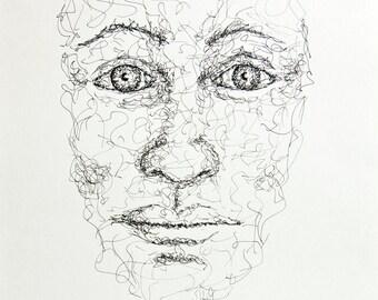 Original ink drawing scribbling style original drawing