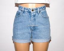 Levi High Waisted Denim Shorts, Authentic Levi's High Waisted Shorts,  Levi's Plus Size Shorts, Vintage High Waisted Levi Shorts, Hipster