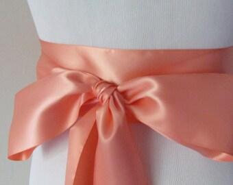 Deep Peach Ribbon Sash / Double Faced Ribbon Sash / Bridal Sash / Bridal Ribbon / Deep Peach