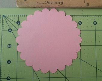 Light Pink Die Cut Scallop Circles, Embellishments, Scrapbooking, Paper Goods, Gift Tags, Party Favors, Circle Die Cut, Wedding Decorations