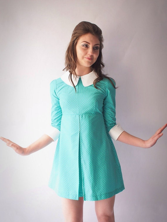 1960 S Reproduction Mod Dress Turquoise And White