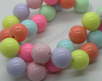 20mm GUMBALL Beads Solid Acrylic Beads Candy Beads Round Plastic Beads Bubblegum Beads Chunky Necklace Beads Bubble Gum Bead-1 strip-YTT08