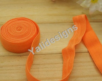 10 Yards 3/8''  Orange Elastic Headband Baby Hairbow Soft Foldover Elastic Binding Webbing Tape Craft Sewing  - YTA13