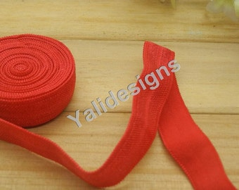 10 Yards 3/8''  Red Elastic Headband Baby Hairbow Soft Foldover Elastic Binding Webbing Tape Craft Sewing  - YTA13