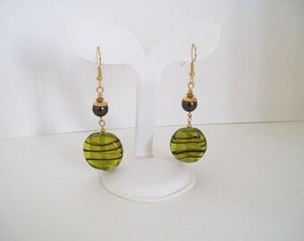 Green and Brown Lampwork Glass Bead Earrings