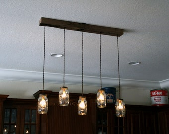 7 Light Mason Jar Chandelier - Rustic Cedar