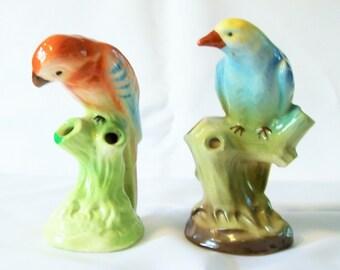 Vintage Czechoslovakia Bird Flower Frogs