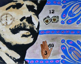 Game of dice - Inches 11.8 x 16.5 - cm. 30 x 40 -  Mixed media on drawing paper.