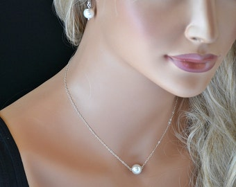 Single Pearl Set, Bridesmaid Set, Single Pearl Necklace and Earrings, Bridal Jewelry Set, Wedding Jewelry