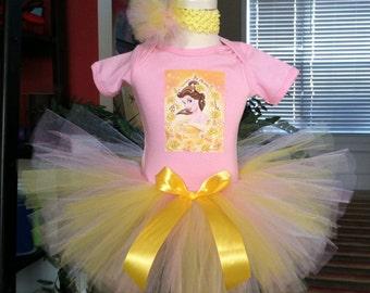 Princess Belle Birthday Tutu set any size available 12m to 8y FREE Headband