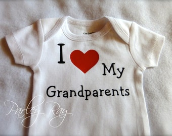Custom Baby  Bodysuit I Love My Pappy/ Grammy Grandpa/ Grandma boy/ girl Nana and Papa / Grandparents