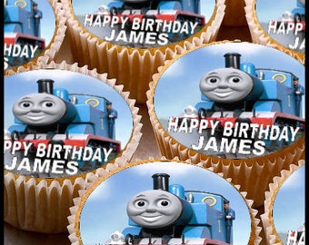 24 x Personalised Thomas Tank Cup Cake Toppers with Any Name Happy Birthday