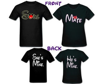 Disney couples shirts Soul Mate with Hes Mine Shes Mine on the back in    Disney Soul Mate Shirts