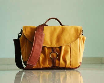 BIG SALE / Koi-S in Mustard - Canvas Camera / Vegan DSLR Camera Bag / Camera Bag/ Gift for Her/ Messenger Handbag/ Digital bag