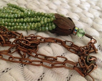 SALE Green Leaf Tassel Necklace