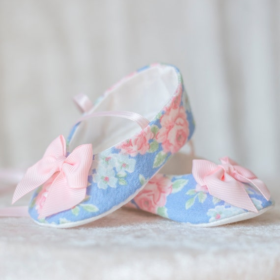 personalized baby shoe blue and pink bow floral by