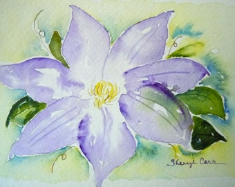 Clematis Watercolor Notecard