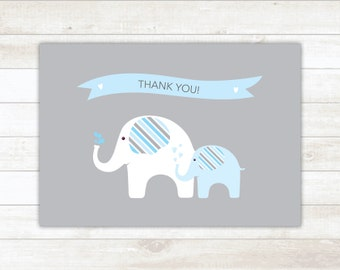PRINTABLE thank you cards baby shower blue grey elephants thank you card - personal use