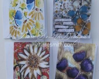 Floral Notecard Set -  Set of 4 Notecards, Flowers, Butterflies